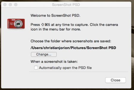 Les options de Screenshot PSD