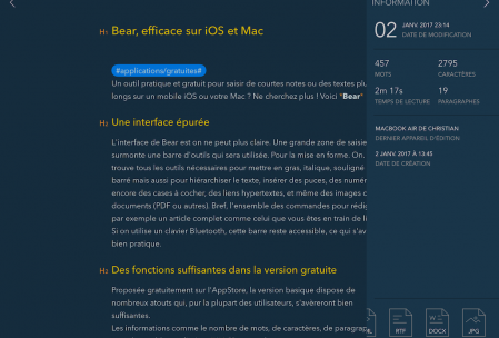 Bear - Informations sur la note courante et export