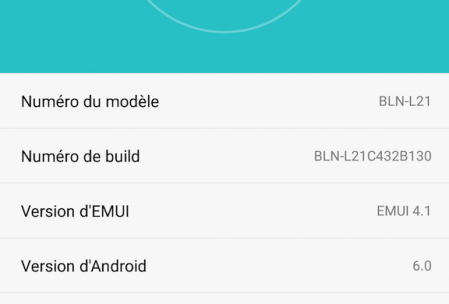 Versions Android et Emui du Honor 6X