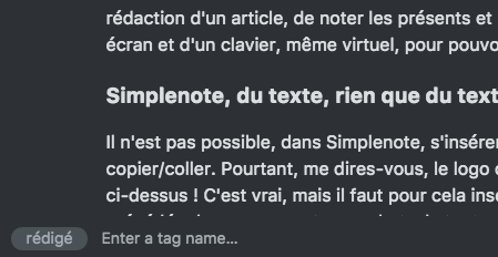 Simplenote tags d'une note