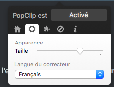 icone PopClip onglet taille et langue