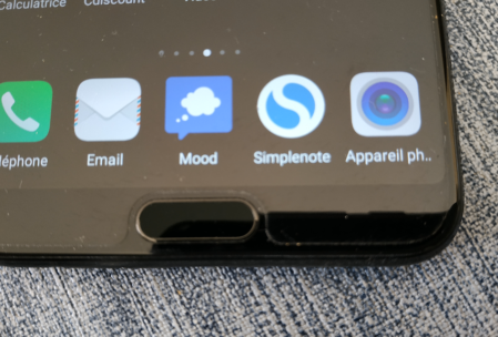Bouton Home et lecteur d'empreinte digitale du Honor View 10