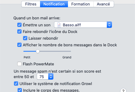 Notifications avec SpamSieve